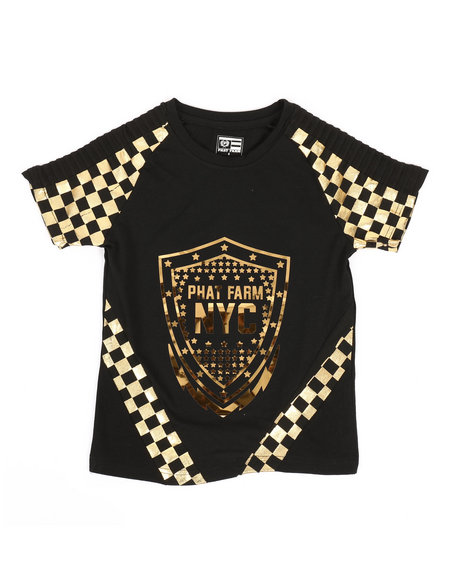 Phat Farm - Foil Printed Solid Pintuck Crew Neck Tee (4-7)