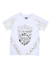 Boys - Foil Printed Solid Pintuck Crew Neck Tee (4-7)-2330494