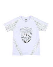 Boys - Foil Printed Solid Pintuck Crew Neck Tee (8-20)-2330499