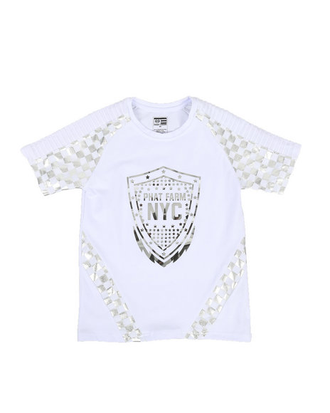 Phat Farm - Foil Printed Solid Pintuck Crew Neck Tee (8-20)