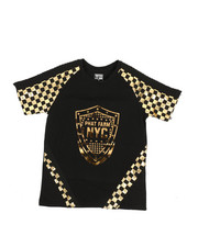 Tops - Foil Printed Solid Pintuck Crew Neck Tee (8-20)-2331800