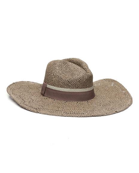 Fashion Lab - Open Weave Wide Brim Panama Hat