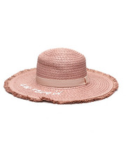 Women - Straw Verbiage Floppy Hat-2335774