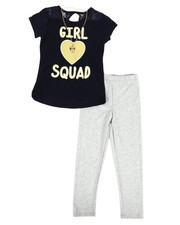 Girls - Lace Back Top, Leggings & Necklace Set (7-16)-2330464