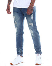 Jeans - Vintage Wash Blown Out Knee Stretch Jean-2336004