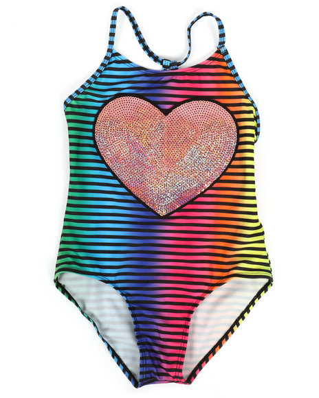 Delia's Girl - Pink Heart Swimsuit (7-16)