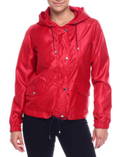 Women - Hooded Windbreaker Full Zip Jacket-2338492