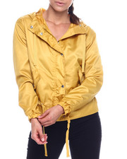 Outerwear - Hooded Windbreaker W/ Peplum Drawstring Waist-2338477