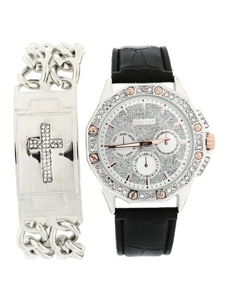 Rocawear - Watch & Cross Chain Bracelet Set