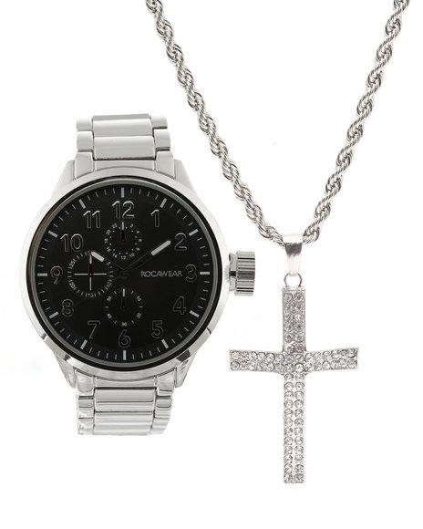 Rocawear - Watch & Cross Necklace Set