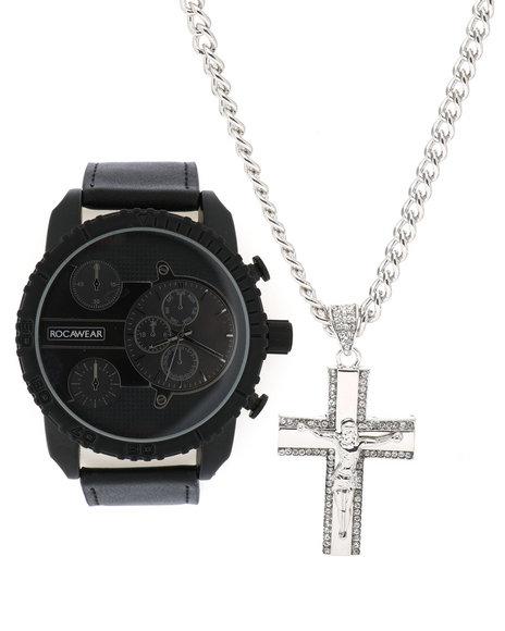 Rocawear - Watch & Jesus Cross Necklace Set
