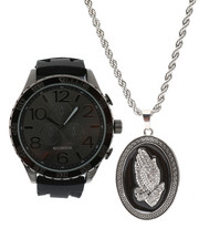 Accessories - Watch & Praying Hands Necklace Set-2336041