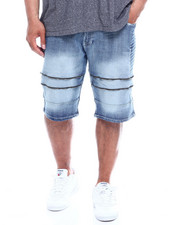Men - Zipped Biker Denim Shorts (B&T)-2343113