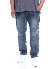 Men - Washed Stretch Moto Denim Pants W/ Zipper (B&T)-2343072