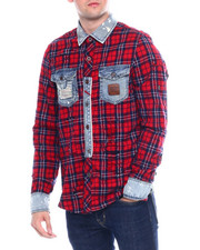 Heritage America - RED PLAID MIX MEDIA BUTTON FRONT SHIRT-2342450