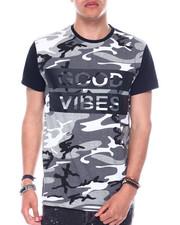 Shirts - S/S Mens Good Vibes Camo Printed T-shirt-2344620