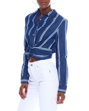 Spring-Summer-W - Button Twist Front Denim Crop Shirt-2340381
