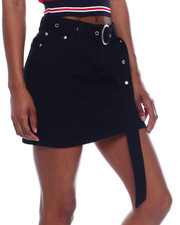 Fashion Lab - Denim Zip Front 5pkt Skirt w/ Long Belt-2344863