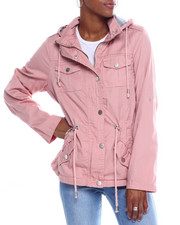YMI Jeans - Cotton Hooded Drawstring Waist Jacket-2345096