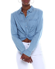 Spring-Summer-W - Button Twist Front Denim Crop Shirt-2340407
