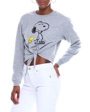 Graphix Gallery - Snoopy Sleeve Tie Front Sweatshirt-2344163