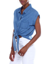 Fashion Lab - Button Tie Front Denim Top-2340416
