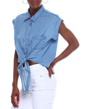 Fashion Lab - S/S Button Tie Front Denim Top-2340430