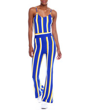 Fashion Lab - S/L V-Neck Stripe Wide Leg Jumpsuit-2344964