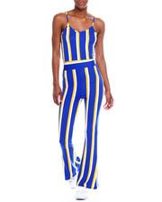 Jumpsuits - S/L V-Neck Stripe Wide Leg Jumpsuit-2344964