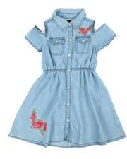 Dresses - Cold Shoulder Denim Shirt Dress (4-6X)-2341564