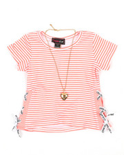 La Galleria - Stripe Top W/ Tape Lacing & Necklace Set (4-6X)-2338219