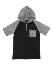 Henleys - Raglan Hooded Henley Tee (8-20)-2340767