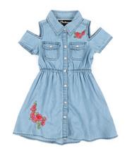 Girls - Cold Shoulder Denim Shirt Dress (2T-4T)-2341560