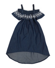 Girls - A-Line Dress W/ Embroidered Smock (2T-4T)-2341322