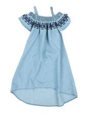 Girls - A-Line Dress W/ Embroidered Smock (4-6X)-2341397