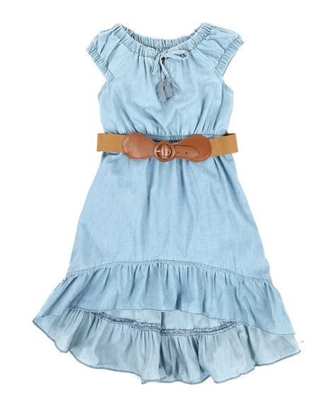 Dollhouse - Belted Hi Low Ruffle Chambray Dress (4-6X)