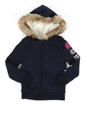 Girls - Sherpa Lined Distressed Fleece Hoodie (4-6X)-2334648