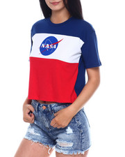 Women - SS Color Block Nasa Crop Tee-2346444