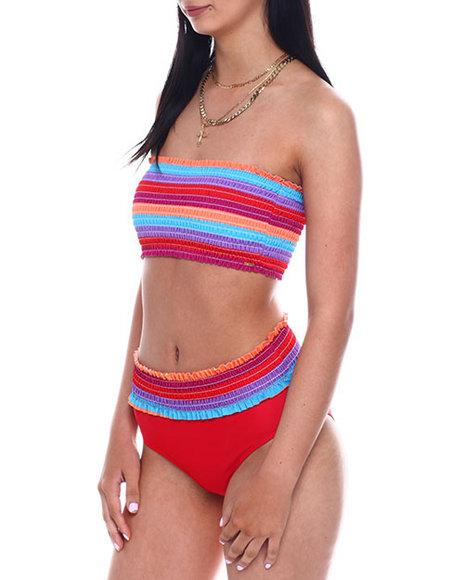 XOXO - Shirred Bandeau Bikini Top & High Waist Bikini Bottom