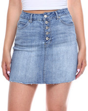 Bottoms - 5 Button Frayed Hem Denim Skirt-2340538