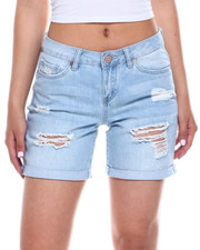 Bottoms - Hi Rise Destructed Roll Cuff Denim Bermuda-2346423