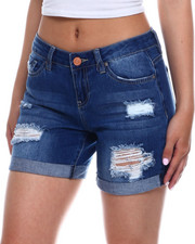 Bottoms - Hi Rise Destructed Roll Cuff Denim Bermuda-2346397