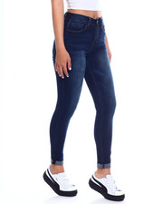 Bottoms - No Muffin Roll Cuff Hi Waist Skinny Jean-2345121