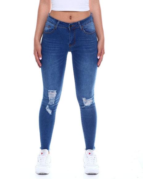 Fashion Lab - Ripped FRT/BK Ankle Jean