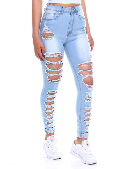 Fashion Lab - Heavy Ripped Front + Back Hi Waist Skinny Jean