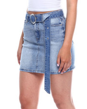 Bottoms - Denim Zip Front 5pkt Skirt w/ Long Belt-2344910