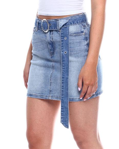 Fashion Lab - Denim Zip Front 5pkt Skirt w/ Long Belt