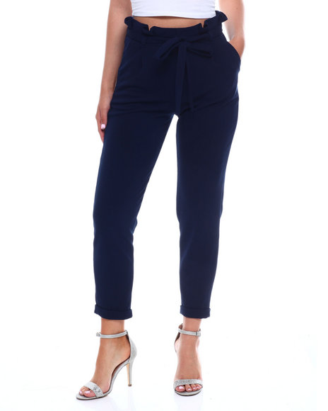 Almost Famous - Liverpool Paper Bag Waist Roll Cuff Straight Leg Pant