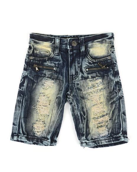 Arcade Styles - Zip Trim Ripped Denim Shorts (4-7)