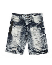 Boys - Zip Trim Ripped Denim Shorts (4-7)-2342013